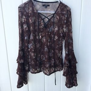 MM by My Michelle Sheer Long sleeve Blouse